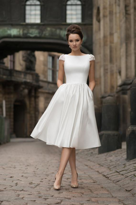 Kurze MIDI-lange Hochzeit Kleid Ärmel satin moderne sexy einfach bestickt offene Rückseite Ho…