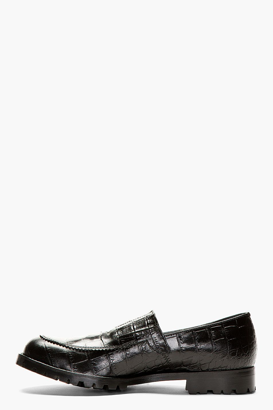 b2884d521d1bf1 COMME DES GARÇONS HOMME PLUS Black Croc-Embossed Leather Loafers ...