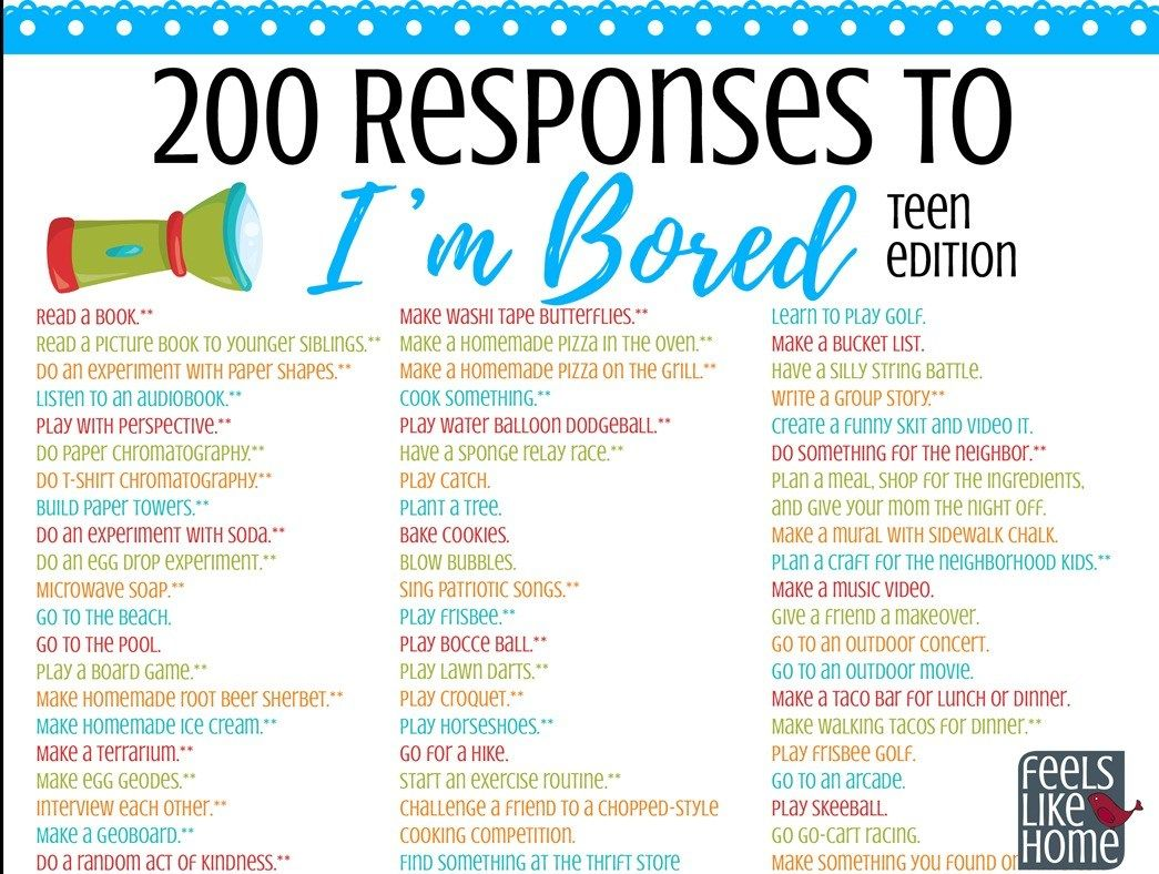 Simple And Easy Things For Tweens Teens And Adults To Do When They Re Bored Options For Girls And Bo What To Do When Bored Things To Do When Bored Bored Jar