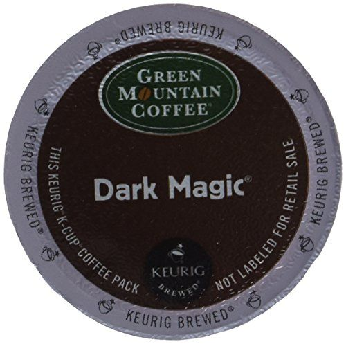Green Mountain Coffee, Dark Magic (Extra Bold), 96-Count K-Cups for Keurig Brewers  Extra Bold. More coffee in each K-Cup–for extra bold flavor. Green Mountain Coffee in K-Cups – The ultimate quality coffee in the ultimate single-cup brewing system–we use only fresh-roasted 100% pure Arabica coffee that offers unparalleled taste and flavor.   Packaging for this item has changed. It is the exact same product, has just gone from brown to green packaging and the words descriptive of the..