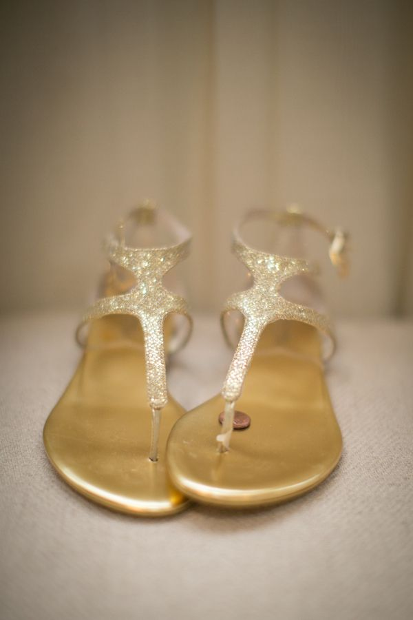 2b70c7351ac4 Gold Glitter Bridal Sandals in 2019