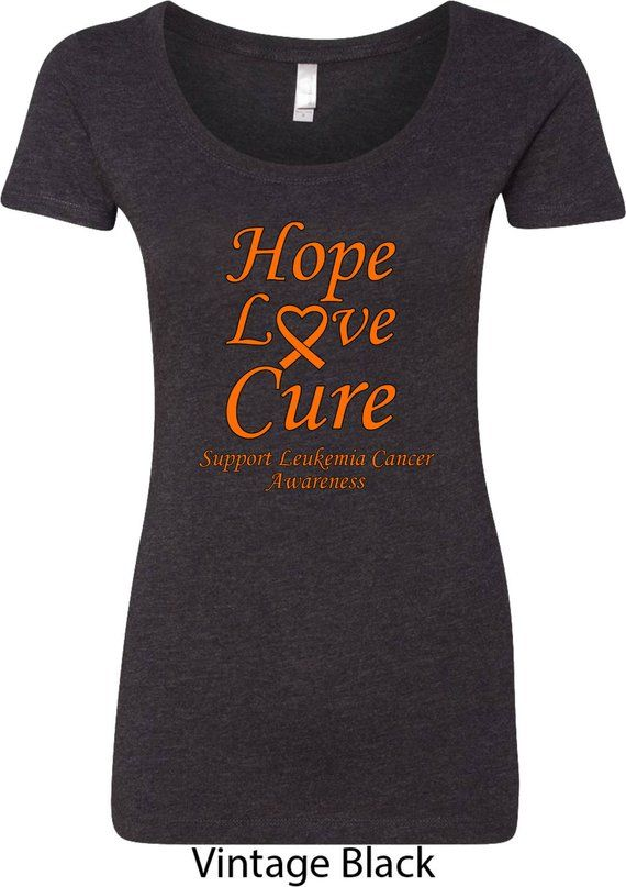 b3edbf6ac Ladies Hope Love Cure Support Leukemia Cancer Awareness Scoop Neck Shirt  HLC-SLCA-6730
