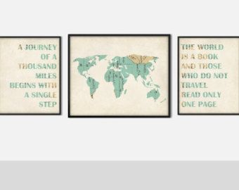 Wanderlust vintage map set of three art prints world map travel wanderlust vintage map set of three art prints world map travel nursery decor journey of a thousand miles world is a book sku 192 gumiabroncs Images