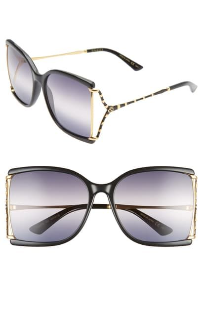 GUCCI 60MM GRADIENT BUTTERFLY SUNGLASSES  BLACK SMOKE GRADIENT