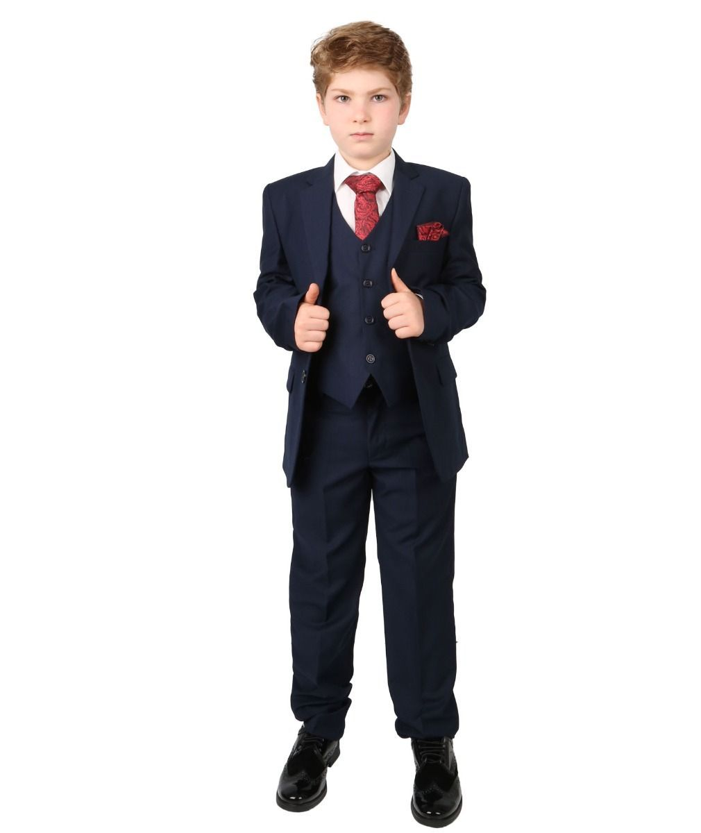 Designer Sebastian Le Blanc Boys Grey Slim Fit Suit Prince William Style