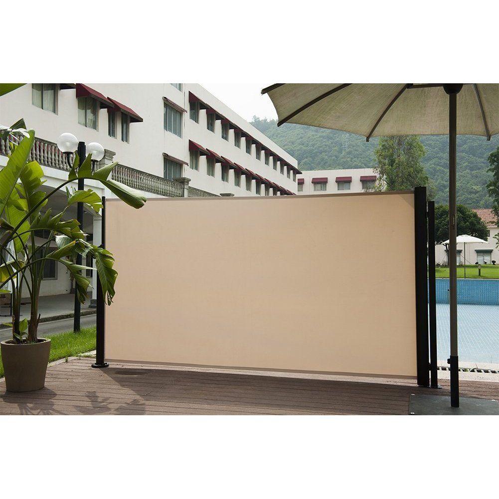 Patio Privacy Fence Abba Patio Beige Retractable Folding Screen Privacy Divider