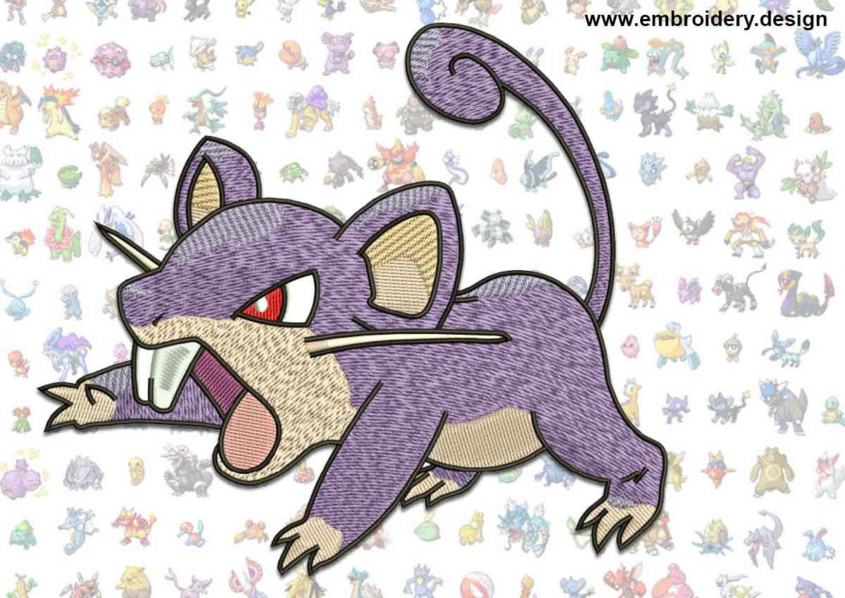 Ratata pokemon embroidery design - downloadable - 2 sizes by EmbroSoft on Etsy