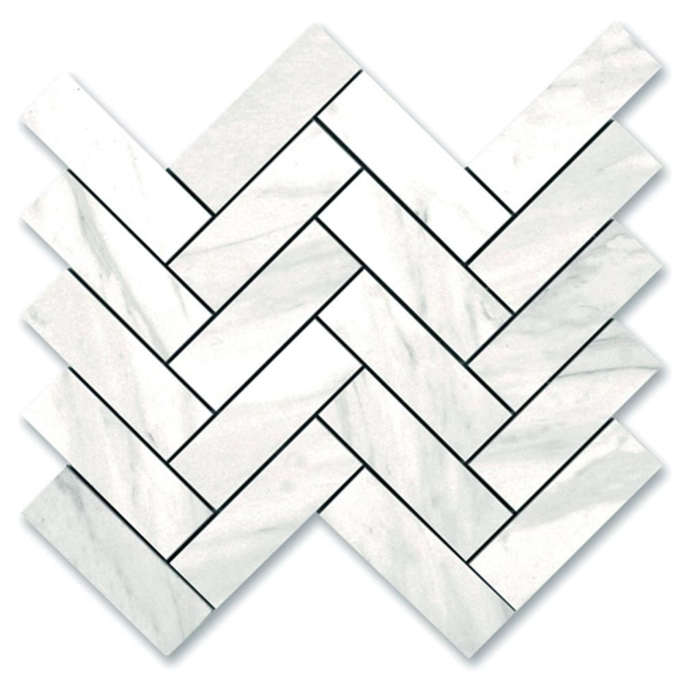 White Carrara Marble Mosaic 2 X 6 Herringbone In 2020 Carrara Retro Tiles Porceline Tile