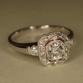 Reserved Art Deco Inspired Wedding Ring Platinum And 14k White Gold
