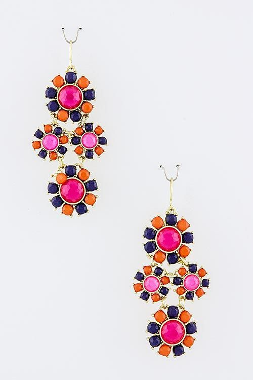Fuchsia Pink, Orange, & Navy Jewel Sunburst Dangling Statement Earrings