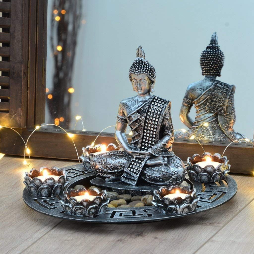 Buddha Dekoteller Silber Mit Teelichthaltern Und Deko Steinen