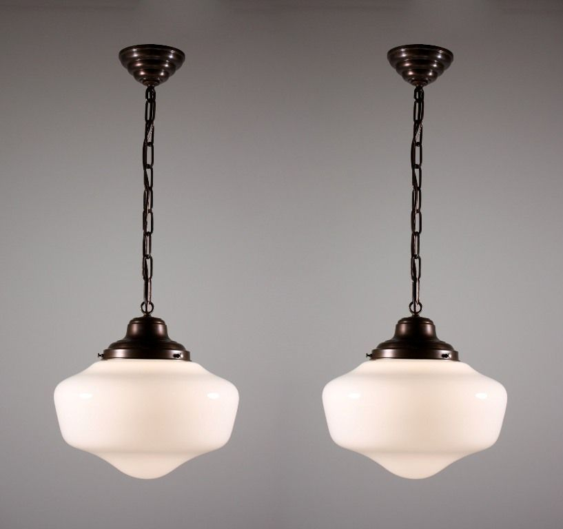 Two Matching Antique Schoolhouse Lights With Glass Globes One Available