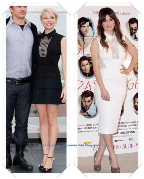 Un vestido de Victoria Beckham primavera 2013 lo llevo en negro y corto Michelle Williams al photocall de Oz en Moscu; Blanca Suarez lo llevo en blanco y largo a la presentación de la película Los amantes pasajeros en Roma.