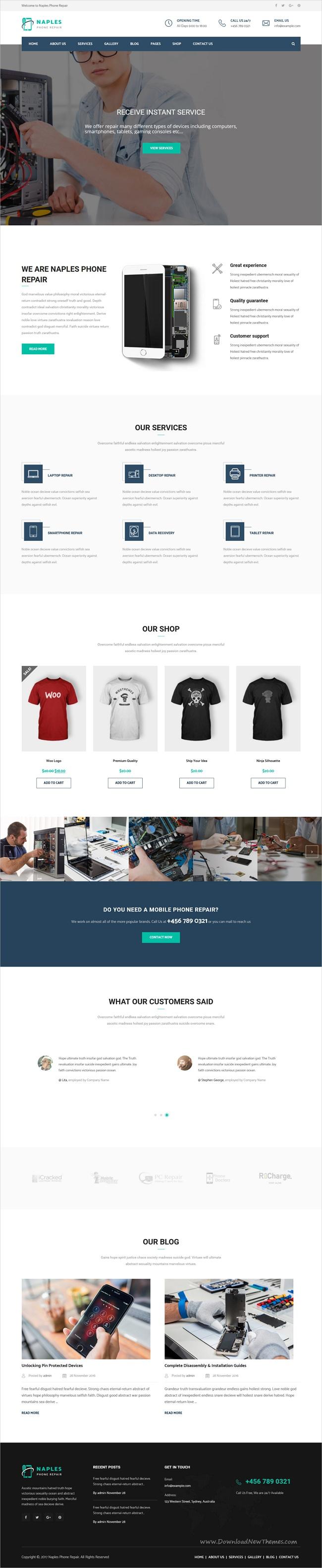 Naples Phone Repair Shop WordPress Theme Computer Repair Shop Repair Phone Design Cell phone repair website template
