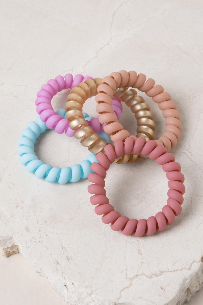 Mini Pink Telephone Cord Scrunchie Hair Bobbles