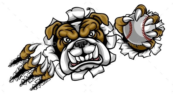 Bulldog Baseball Sports Mascot Bulldog Mascot Angry Animals Bulldog