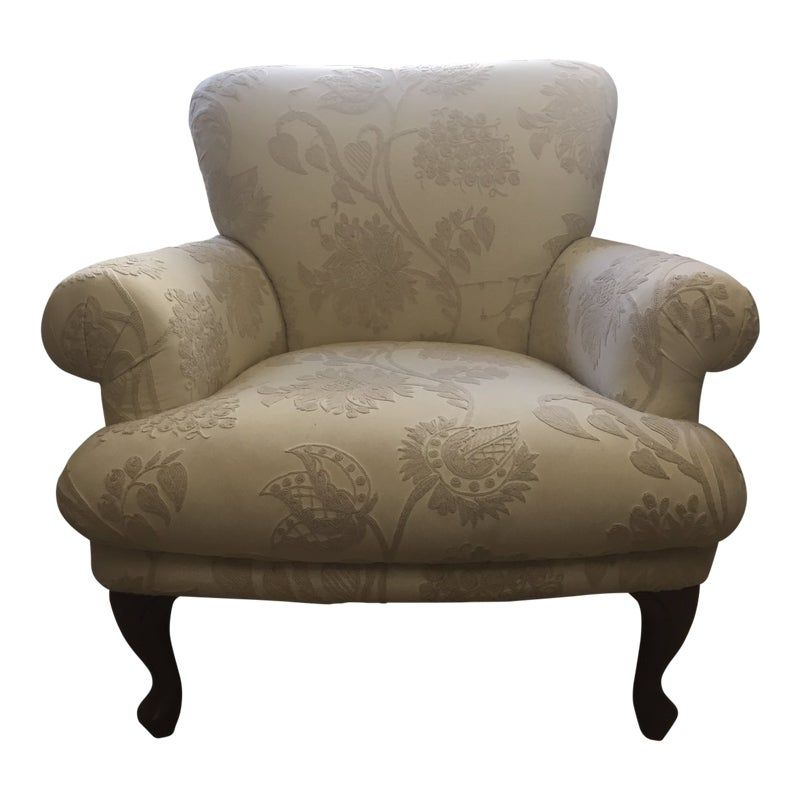 Upholstered Arm Chair With Travers Crewel Work Fabric In 2020