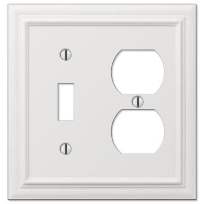 Amerelle Deerfield 2 Gang 1 Toggle And 1 Duplex Composite Wall Plate White 2040tdw The Home Depot Plates On Wall Electrical Box Cover Light Switch Covers