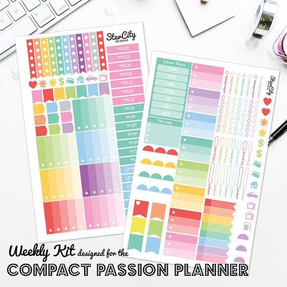 Weekly Kit for Compact Passion Planner stickers by StarCityDesigns