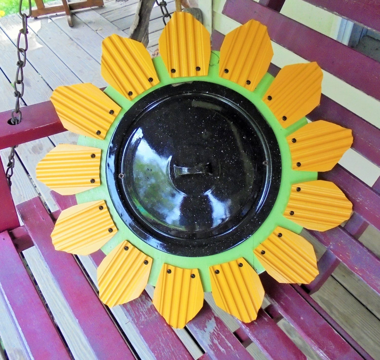 Sunflower, Enamelware Pot Lid Center,Folk Art, Garden Dcor, Yard Art ...