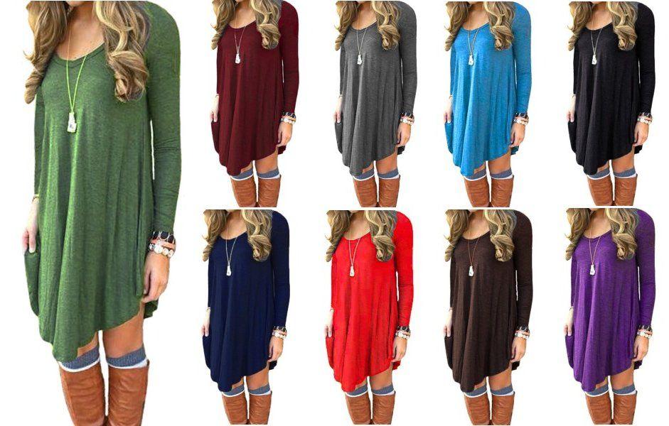 7cd512651b1 DEARCASE Women's Long Sleeve Casual Loose T-Shirt Dress at Amazon Women's  Clothing store: