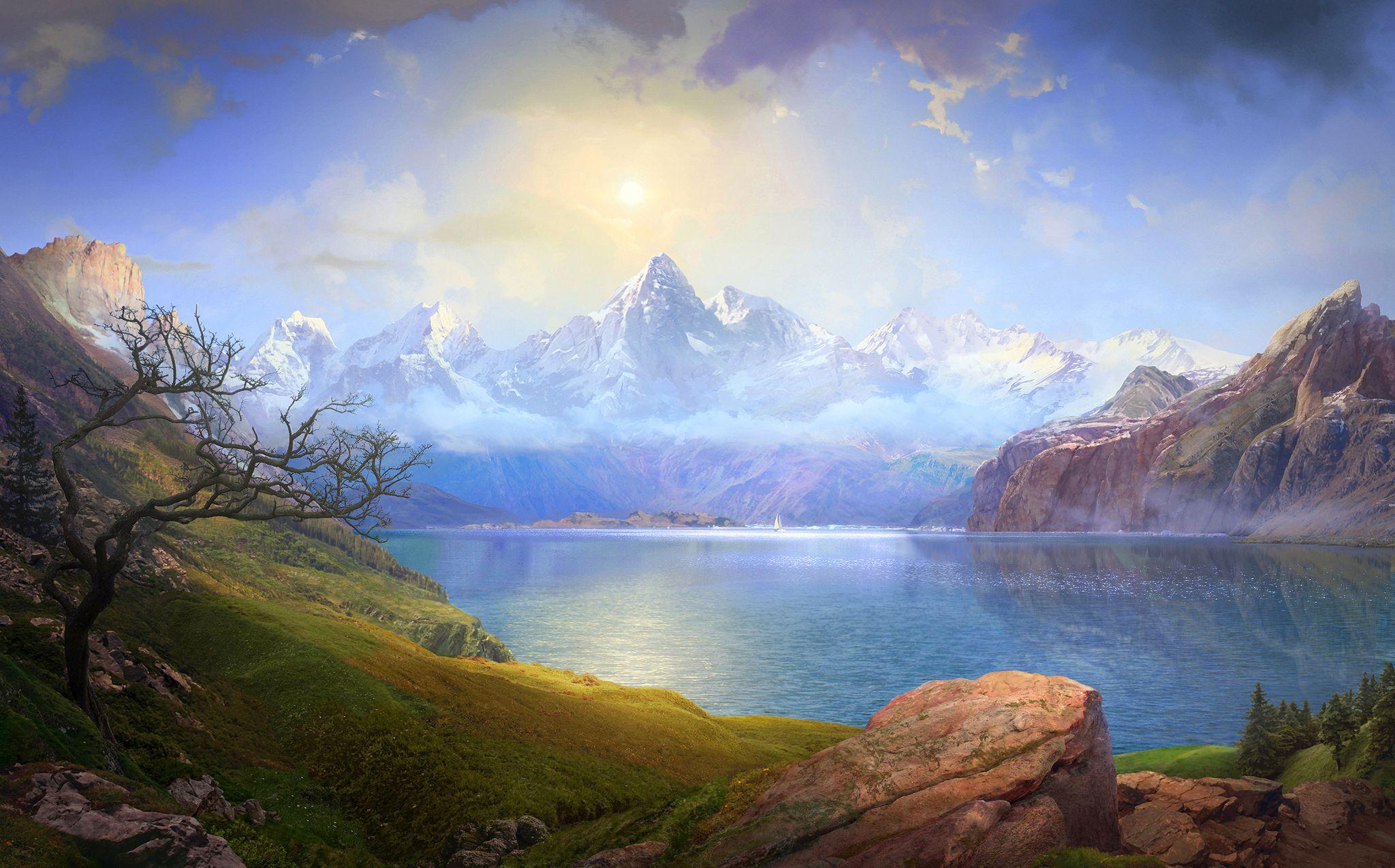 Картинки формат, море и горы картинки живопись