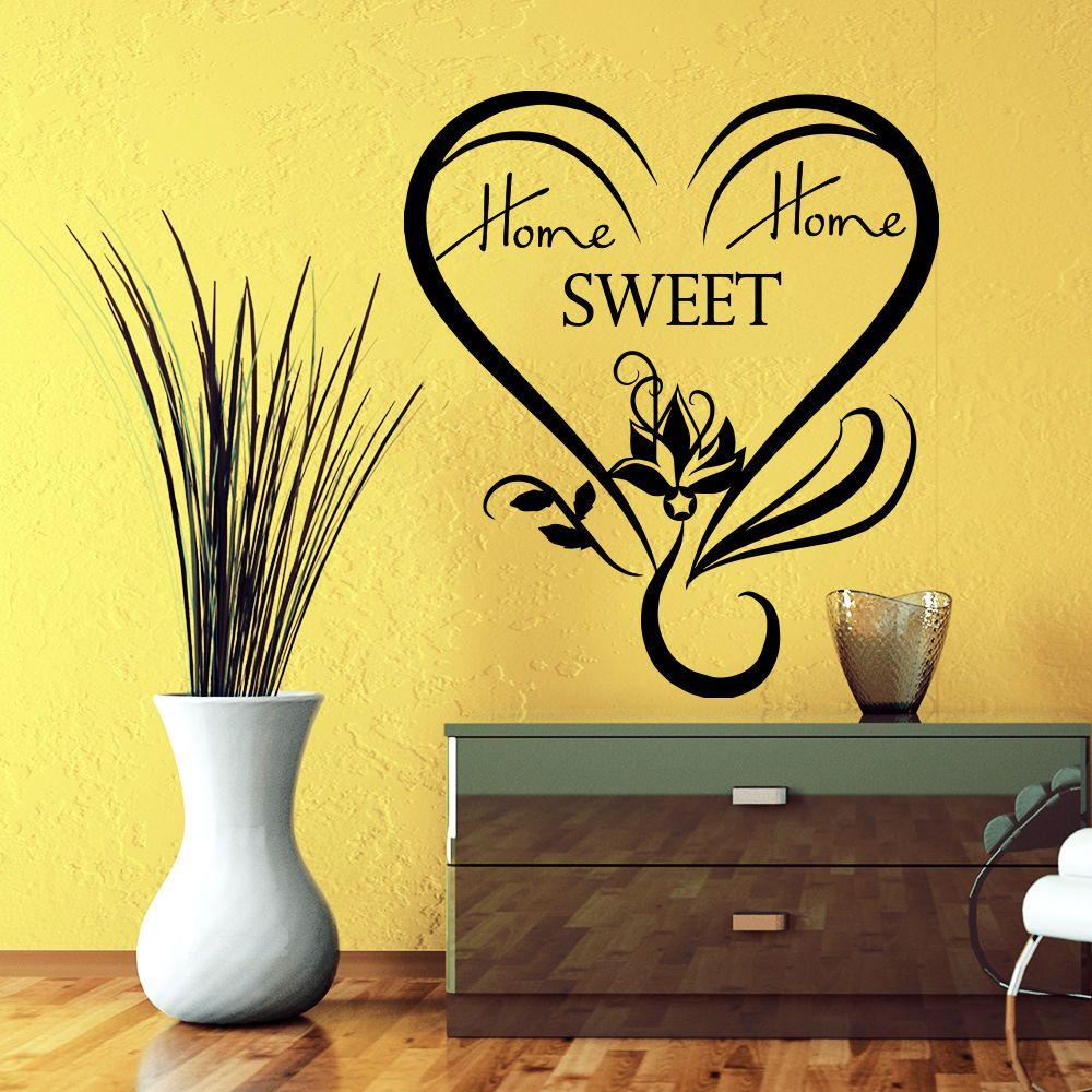 Wall Decals Quote Home Sweet Home Lotus Flower Heart Vinyl Bedroom ...