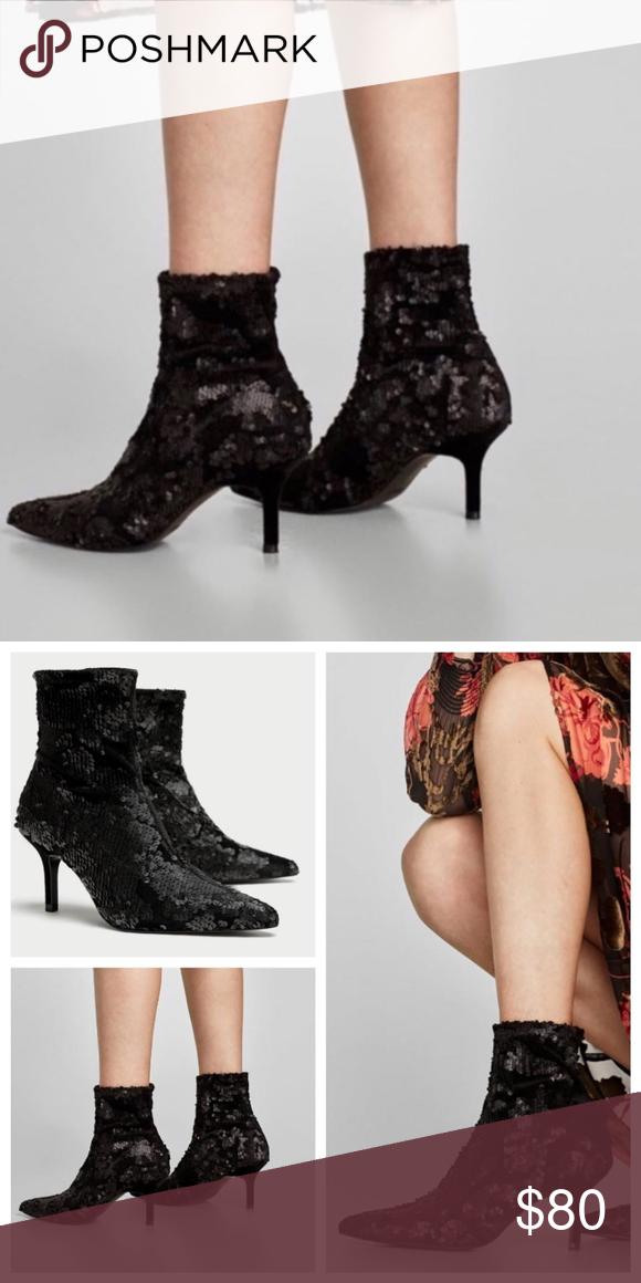 Zara Velvet Sequin Heeled Ankle Sock Boots New Sequin Heels Ankle Socks Heels