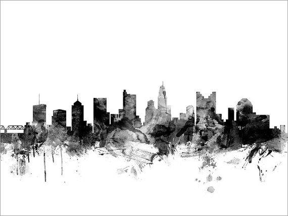 Columbus skyline columbus ohio cityscape art print by for Tattoo columbus ohio
