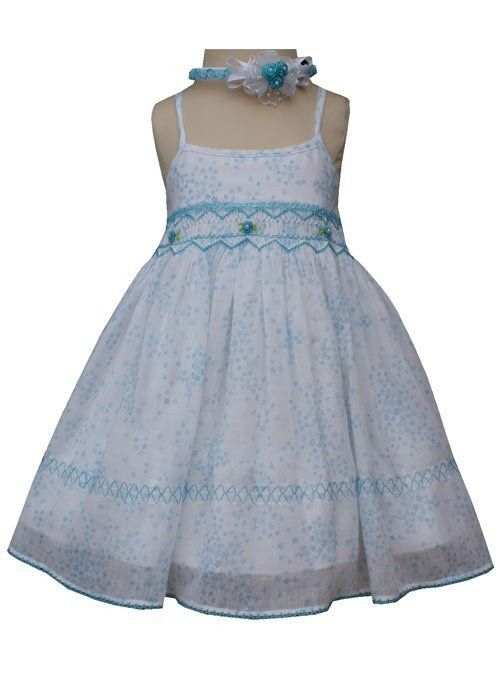Girls Turquoise Spaghetti Straps Summer Floral Dress with Coordinated Headband--Carousel Wear - 2