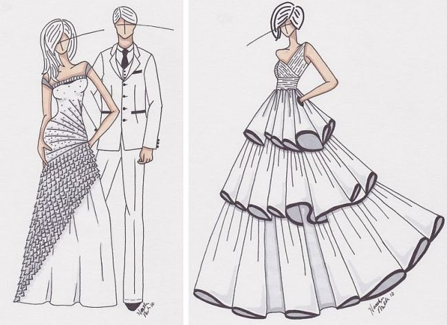 Fashion clothes drawing dresses