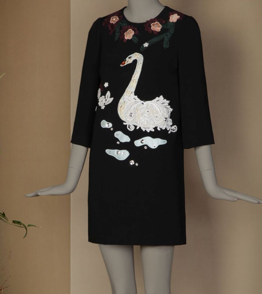 Embroidered swan and flowers tunic dress dress up