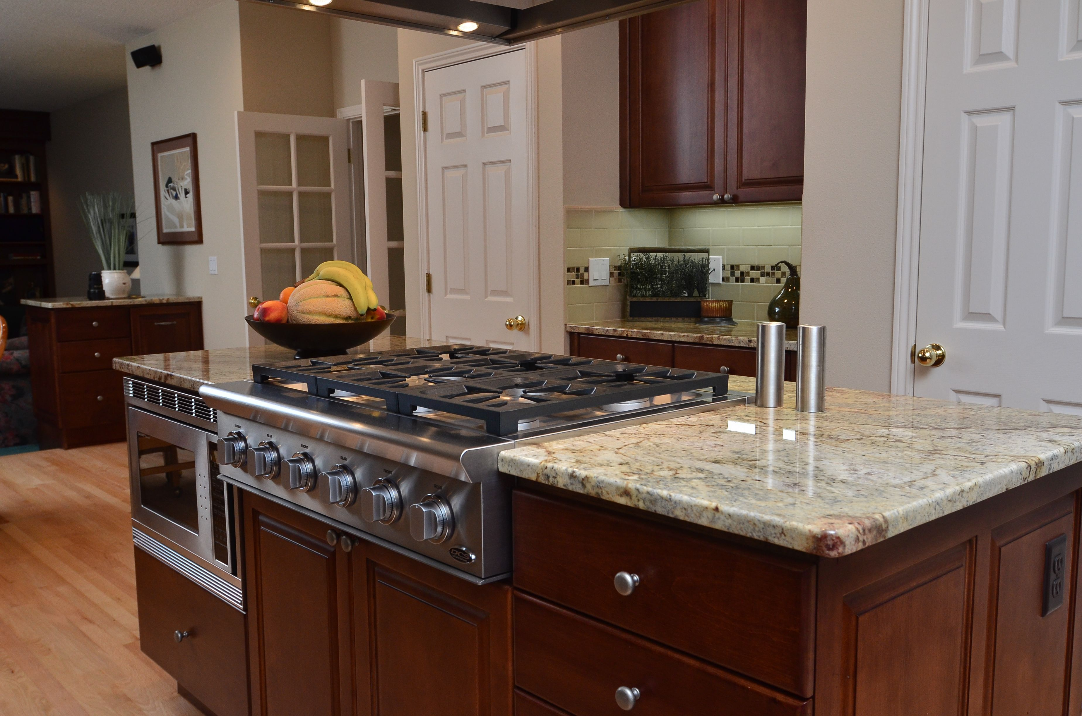 We stripped, re-stained and sealed the existing maple ... on What Color Backsplash With Maple Cabinets  id=85353