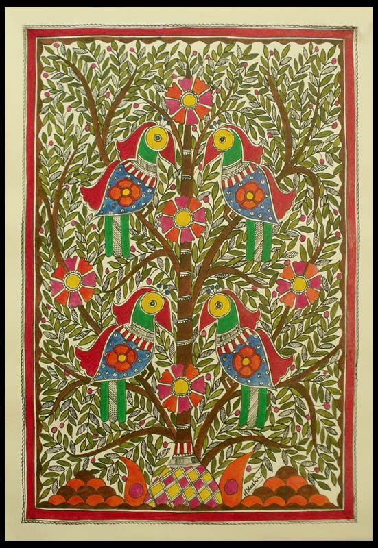 Madhubani painting, 'Tree of Life' | Painting trees ...