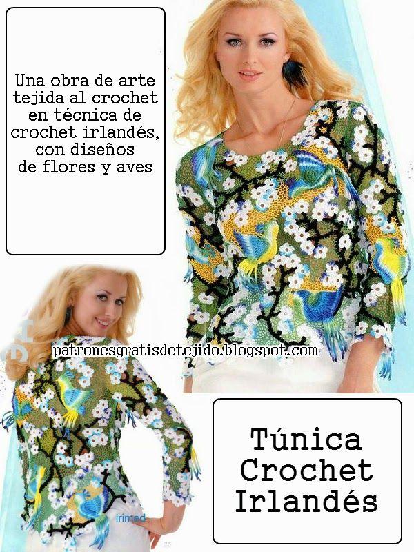 Patrones túnica crochet irlandés | punto irlandes | Pinterest ...