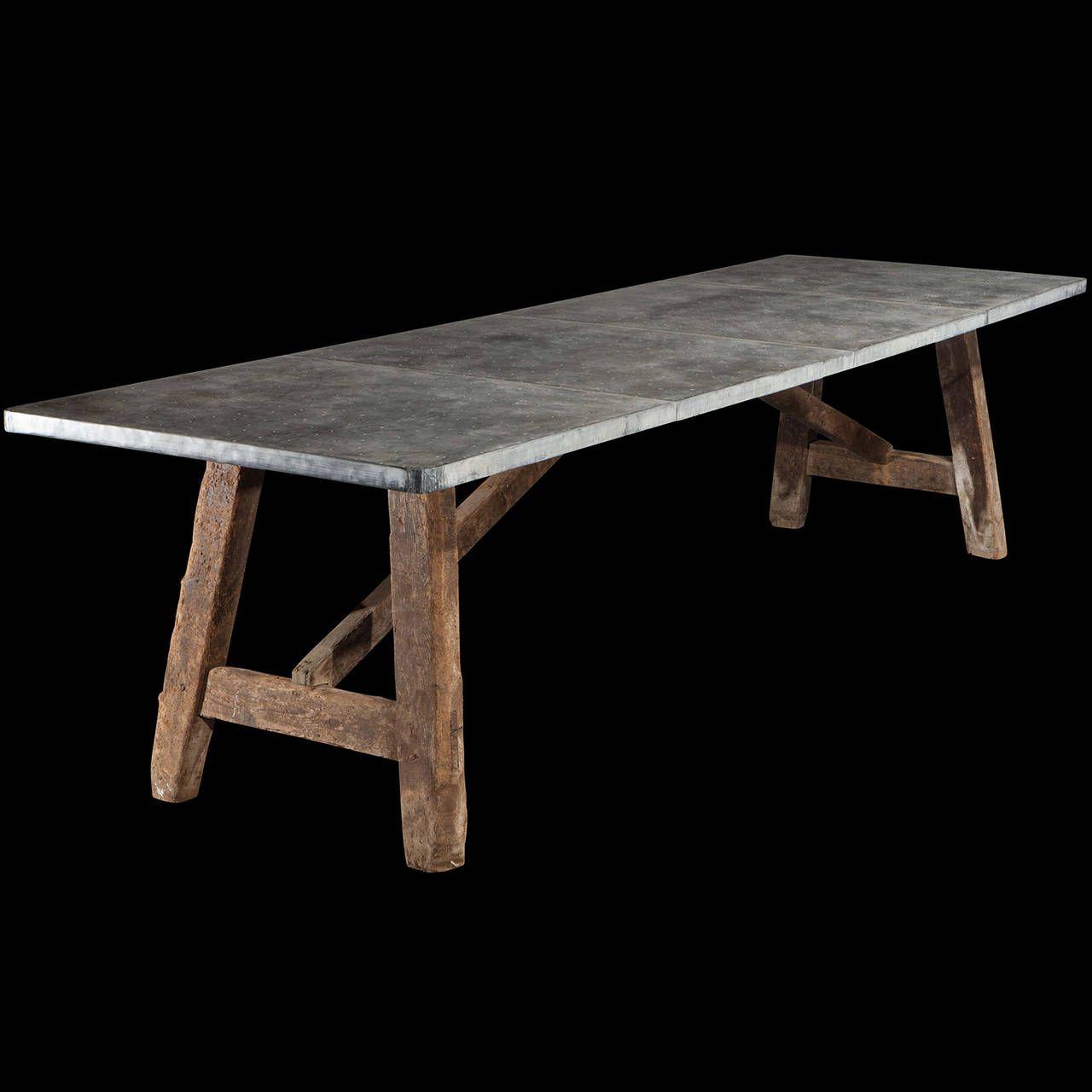 Zinc Top Preparation Table 1stdibs Com Zinc Table Rectangular