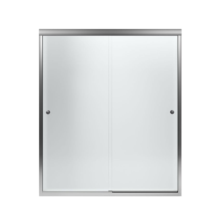 Sterling Finesse 54.625-in to 59.625-in Frameless Silver Sliding ...