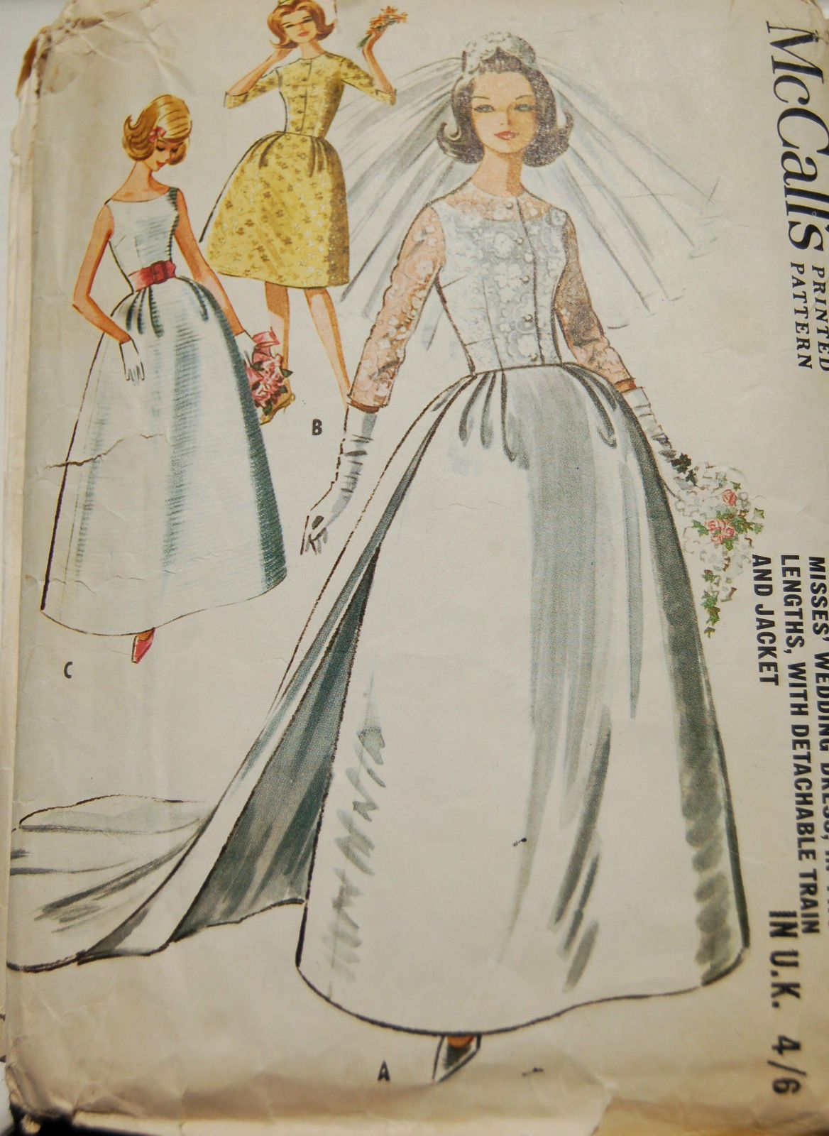 Vintage 1960s Sewing PatternWedding Dress & Detachable