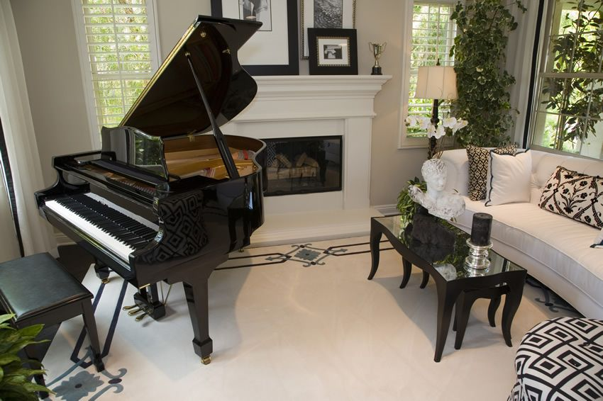 50 elegant living rooms beautiful decorating designs for Piano for small space