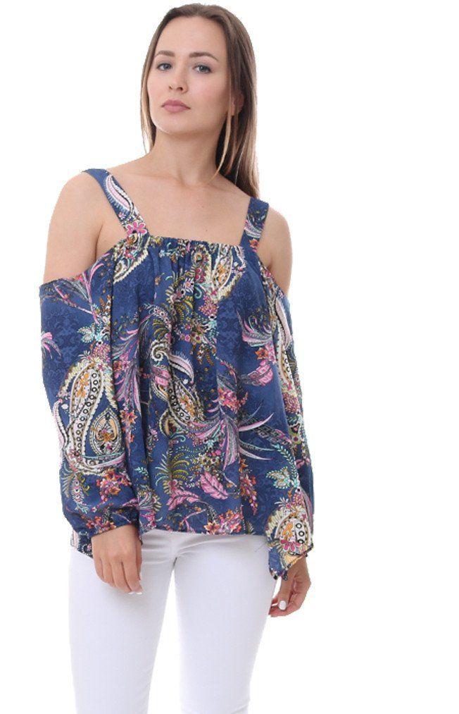 afdea1f8462a3 Ariella Blue Floral Paisley Cold Shoulder Top