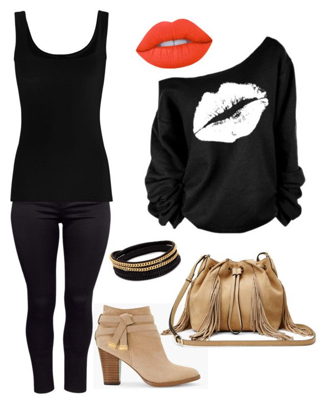 black & beige by impichiam on Polyvore featuring polyvore fashion style Twenty H&M White House Black Market Diane Von Furstenberg Vita Fede Lime Crime clothing