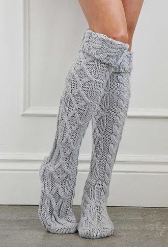 http://www.fashionnewswebsites.com/category/womens-slippers/ Grey Cuffed Knee-High Slipper Socks