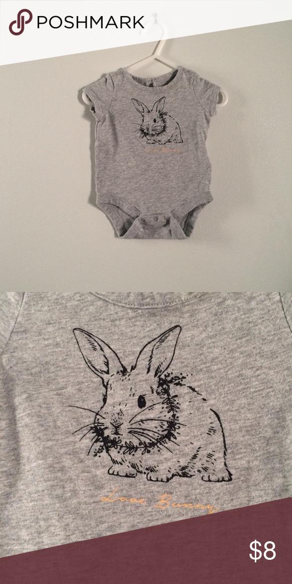 Baby GAP gray Love Bunny bodysuit Barely worn. Love  bunny. GAP One Pieces Bodysuits