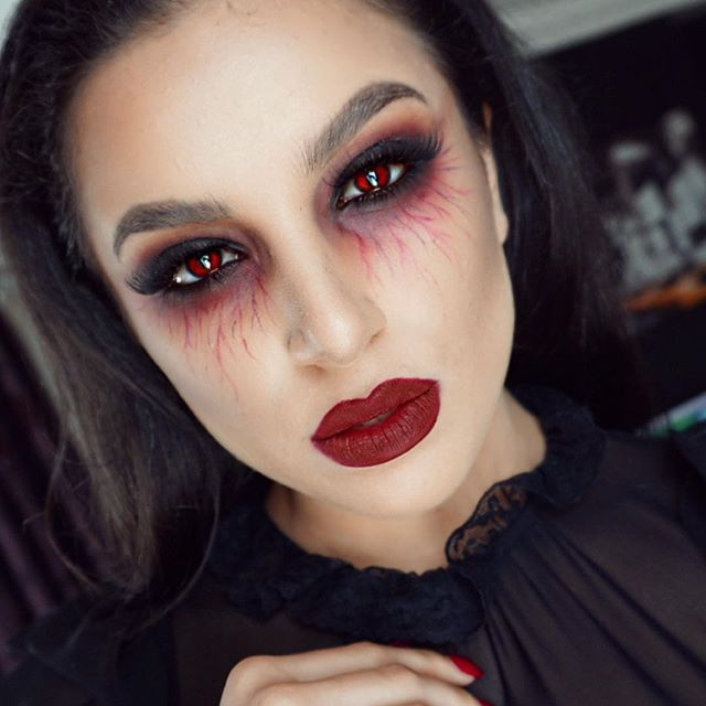 Sexy Vampir Make-up Look für Halloween Dämonen Pinterest - maquillaje de bruja