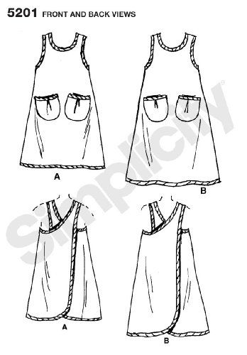 Simplicity Sewing Pattern 5201 Aprons, A (S-M-L-XL) in