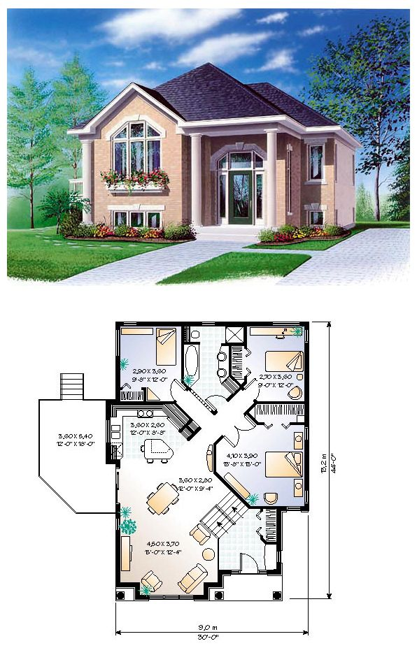 house plan 65350 | total living area: 1234 sq ft, 3 bedrooms & 1