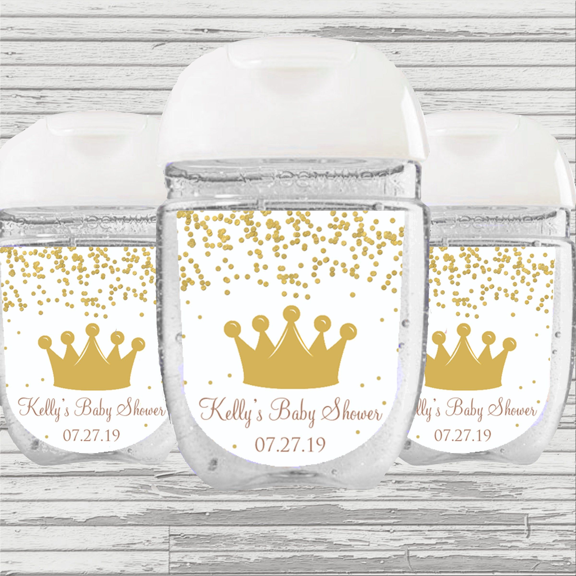 Little Prince Gold Baby Shower Favor Hand Sanitizer Label Gold