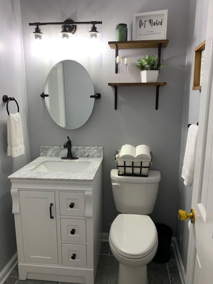 Half Bath Remodel In 2020 Half Bath Remodel Small Half Bathrooms Powder Room Remodel
