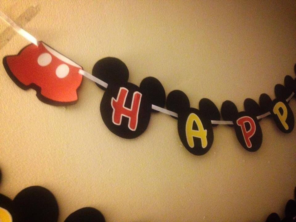 Mickey Mouse custom happy birthday banner Www.facebook.com/custom.designs.by.ana