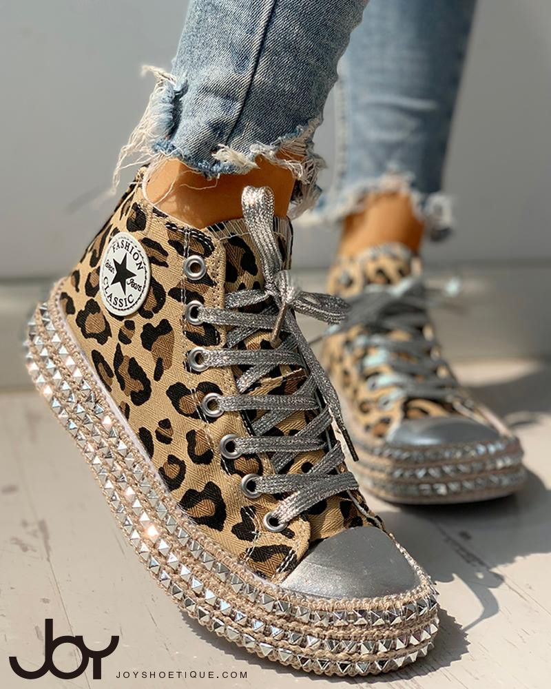 Leopard Rivet Embellished Lace Up Sneakers | Fashion shoes